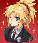 >:) 1girl bangs black_jacket black_necktie eyebrows_visible_through_hair fate/apocrypha fate_(series) fhalei flower flower_ornament gem grey_rose jacket looking_at_viewer medium_hair necktie one_eye_closed parted_lips ponytail red_background rose saber_of_red scrunchie shirt signature simple_background smile solo sparkle tuxedo white_shirt