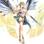 blonde_hair bracelet braid breasts choker company_name covered_nipples dmm fish gabriel_(kami_project) glasses goggles goggles_on_head green_eyes hair_ornament highleg highleg_swimsuit holographic_interface holographic_monitor jewelry kami_project large_breasts legband looking_at_viewer mechanical_wings navel official_art one-piece_swimsuit sandals short_hair short_sword side_braid solo swimsuit sword weapon white_background white_swimsuit wings