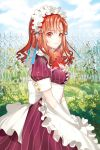 1girl apron bangs blue_sky closed_mouth clouds cloudy_sky day dress eyebrows_visible_through_hair fence flower kei_(seona2020) long_hair looking_at_viewer maid maid_apron maid_headdress outdoors plant purple_dress red_eyes red_ribbon redhead ribbon short_sleeves sky smile solo striped striped_dress sword_girls waist_apron
