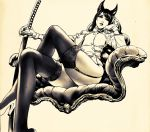 1girl animal_ears arm_support armchair ass azazel1944 bangs black_hair black_legwear breasts chair from_below garter_straps gloves graphite_(medium) hand_on_own_chin high_heels holding holding_weapon katana large_breasts legs_crossed long_hair looking_away monochrome no_pants original outstretched_arm realistic reclining same-hada saya_(scabbard) sitting swept_bangs sword thigh-highs traditional_media tsuba_(guard) tsuka-ito tsuka_(handle) uniform weapon white_gloves