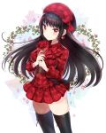 1girl bangs beret black_hair black_legwear bow earrings eyebrows_visible_through_hair flower frills hands_up hat hat_bow hayama_eishi heart heart_earrings highres holding holding_flower jewelry long_hair original red_bow red_eyes red_rose rose sidelocks skindentation solo sparkle thigh-highs very_long_hair zettai_ryouiki