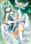1girl alternate_costume alternate_hairstyle animal_ears blue_skirt blush breasts galaxy green_hair highres horn katou_shinobu league_of_legends long_hair looking_at_viewer magical_girl medium_breasts pointy_ears skirt sky smile solo solo_focus soraka star_(sky) star_guardian_soraka starry_sky wings yellow_eyes