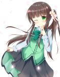 1girl alternate_costume alternate_hairstyle bangs black_skirt blunt_bangs bow bowtie breasts brown_hair buttons closed_mouth collared_shirt commentary_request cowboy_shot eyebrows_visible_through_hair finger_to_mouth flower gochuumon_wa_usagi_desu_ka? green_bow green_bowtie green_eyes green_vest hair_flower hair_ornament kedama_(kedama_akaza) long_hair long_sleeves looking_at_viewer petals pink_ribbon rabbit_house_uniform ribbon shirt side_ponytail sidelocks skirt skirt_hold small_breasts smile solo standing ujimatsu_chiya very_long_hair vest white_background white_flower white_shirt wing_collar