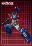 1boy 80s autobot blue_eyes full_body grid grid_background gun handgun headgear holding holding_gun holding_weapon insignia looking_at_viewer machine machinery mecha no_humans oldschool optimus_prime paintedmike ray_guns red red_background rifle robot solo transformers weapon
