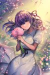 1girl brown_eyes dress ells eyebrows_visible_through_hair fate/stay_night fate_(series) floating_hair flower hair_between_eyes hair_ribbon head_tilt highres holding holding_flower long_hair matou_sakura pink_flower purple_hair purple_ribbon ribbon short_sleeves smile solo white_dress