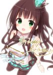 1girl :d absurdres alternate_costume band bangs bare_shoulders black_bow black_bowtie blunt_bangs blush bow bowtie breasts brooch brown_hair collared_shirt commentary_request dated english eyebrows_visible_through_hair from_above gochuumon_wa_usagi_desu_ka? green_eyes hanakoizumi_yoruno happy_birthday hat highres jewelry large_breasts long_hair looking_at_viewer marching_band mini_hat open_mouth pantyhose plaid plaid_hat plaid_skirt seiza shirt sidelocks sitting skirt sleeveless sleeveless_shirt smile solo ujimatsu_chiya white_background white_shirt wing_collar wrist_cuffs