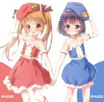 2girls :o arm_up bangs bare_shoulders beret blue_eyes blue_hat blue_shirt blue_skirt blunt_bangs blush bow brown_eyes brown_hair brown_ribbon collarbone commentary_request elbow_gloves eyebrows_visible_through_hair frilled_gloves frilled_shirt frilled_skirt frills gloves hair_ornament hair_ribbon hairclip hand_on_headwear hands_together hat leg_ribbon light_brown_hair long_hair looking_at_viewer multiple_girls open_mouth original parted_lips personification ramble red_ribbon red_shirt red_skirt ribbon shirt simple_background skirt skirt_set sleeveless sleeveless_shirt standing standing_on_one_leg thigh-highs twintails upper_teeth white_bow white_gloves white_legwear