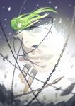 1boy bangs barefoot chains closed_mouth debris enkidu_(fate/strange_fake) enkidu_(weapon) eyebrows_visible_through_hair fate/strange_fake fate_(series) fhalei from_behind full_body green_eyes green_hair highres long_hair long_sleeves looking_at_viewer looking_back male_focus robe solo white_robe
