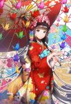 1girl absurdres bangs black_eyes black_hair blunt_bangs closed_mouth flower from_side hair_flower hair_ornament highres holding japanese_clothes kimono looking_at_viewer oriental_umbrella origami original paper_crane parasol short_hair standing umbrella y.i._(lave2217)