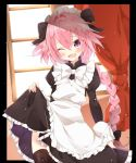 1boy alternate_costume apron black_bow blush bow braid crossdressing enmaided fang fate/grand_order fate_(series) frills gau_(n00_shi) hair_intakes hair_ribbon highres long_hair maid maid_apron maid_headdress male_focus pink_hair puffy_short_sleeves puffy_sleeves ribbon rider_of_black short_sleeves single_braid smile solo thigh-highs trap violet_eyes waist_apron wrist_cuffs