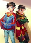 2boys belt black_hair blue_eyes cape cr72 crossed_arms damian_wayne dc_comics denim green_eyes hands_in_pants jeans jonathan_kent looking_at_another male_focus multiple_boys pants pouch ripped_jeans robin short_hair super_sons superboy