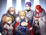 >;d 2girls 3boys ;d aqua_eyes armor artoria_pendragon_(all) artoria_pendragon_(lancer) bangs blonde_hair blue_eyes blush breastplate breasts cape chains cleavage closed_eyes closed_mouth commentary_request crown eyebrows_visible_through_hair fate/apocrypha fate/grand_order fate_(series) fhalei fur_trim gawain_(fate/extra) grin lancelot_(fate/grand_order) large_breasts long_hair looking_at_viewer multiple_boys multiple_girls one_eye_closed open_mouth pauldrons ponytail red_cape red_eyes saber_of_red scrunchie smile standing sword tristan_(fate/grand_order) violet_eyes weapon