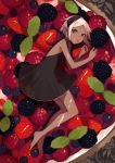 1girl bare_shoulders barefoot berry black_dress blackberry_(fruit) blueberry commentary currant dark_skin dress food from_above fruit halterneck highres horns in_food leaf looking_at_viewer minigirl original pastry pointy_ears raspberry red_eyes shiba_inu_(happy13227) short_hair solo strawberry tart_(food) white_hair