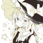 1girl bangs blush bow braid closed_mouth eyebrows_visible_through_hair fang_out greyscale hair_between_eyes hair_bow hat hat_bow hym9594 kirisame_marisa long_hair looking_at_viewer monochrome side_braid single_braid smile solo star touhou upper_body white_background witch_hat
