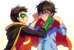 2boys blue_eyes cr72 crying crying_with_eyes_open damian_wayne dc_comics domino_mask green_eyes jonathan_kent male_focus mask multiple_boys robin_(dc) super_sons superboy tears