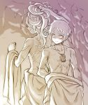 1boy 1girl back-to-back blush breasts cave clenched_hand closed_mouth collarbone cr72 height_difference holding holding_hair long_hair lyza made_in_abyss medium_breasts monochrome profile scar sepia short_hair sketch smile sweatdrop topless torka undressing whistle