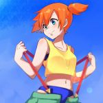 1girl bare_arms bare_shoulders bikini bikini_under_clothes blue_bikini blue_eyes closed_mouth collarbone crop_top cropped_shirt day gym_leader hands_up kasumi_(pokemon) kmchi looking_to_the_side midriff navel orange_hair outdoors pokemon pulled_by_self shirt short_hair side_ponytail sleeveless sleeveless_shirt smile solo stomach suspenders suspenders_pull swimsuit undressing unzipped upper_body