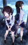 2girls ;d amagai_tarou backpack bag bag_charm bare_legs bench black_bow black_bowtie black_skirt bow bowtie bra brown_hair brown_shoes charm_(object) check_commentary clothes_around_waist collarbone collared_shirt commentary_request day duffel_bag eyebrows_visible_through_hair hair_ornament hair_scrunchie half_updo highres leaning_forward legs_apart loafers long_hair long_sleeves looking_at_viewer looking_away looking_to_the_side low_ponytail multiple_girls no_socks one_eye_closed open_mouth original pleated_skirt puddle rain reflection ripples school_bag school_uniform scrunchie see-through shirt shoes short_sleeves sidelocks signature skirt sleeves_pushed_up smile standing tareme underwear violet_eyes water wet wet_clothes wet_shirt white_bra white_shirt wing_collar wringing_clothes