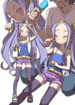 1boy 1girl :3 :d ^_^ absurdres alternate_costume beard belt blush casual closed_eyes collarbone facial_hair fate/grand_order fate_(series) flat_chest food forehead haagen-dazs highres ice_cream long_hair looking_at_viewer nail_polish open_mouth popsicle purple_hair purple_legwear shorts simple_background sitting sleeveless smile tanaka_ahiru thigh-highs twintails very_long_hair violet_eyes white_background wu_zetian_(fate/grand_order) yellow_nails