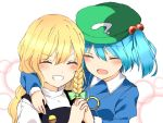 2girls :d ^_^ blonde_hair blouse blue_hair blush braid cabbie_hat closed_eyes collared_shirt commentary furrowed_eyebrows grin hand_holding hat hug interlocked_fingers kawashiro_nitori kirisame_marisa long_hair long_sleeves multiple_girls no_hat no_headwear open_mouth shirt short_hair side_braid single_braid smile touhou two_side_up vest yururi_nano