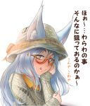 1girl :q animal_ears bangs blue_hair blush chin_rest closed_mouth commentary_request doitsuken ears_through_headwear eyebrows_visible_through_hair fang glasses grey_sweater hat highres licking_lips long_hair long_sleeves looking_at_viewer looking_to_the_side orange_eyes orange_shirt original semi-rimless_glasses shirt smile solo sweater tongue tongue_out translation_request under-rim_glasses