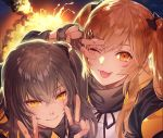 2girls :3 :d bangs black_gloves black_jacket black_ribbon black_scarf character_request commentary_request double_v explosion eyebrows_visible_through_hair fingerless_gloves girls_frontline gloves grey_hair hair_between_eyes hair_ornament hair_ribbon hair_tie hairclip jacket kei_(seona2020) long_hair long_sleeves looking_at_viewer multiple_girls one_eye_closed open_mouth orange_eyes ribbon scarf shirt smile twintails ump45_(girls_frontline) ump9_(girls_frontline) v v_over_eye white_shirt yellow_eyes
