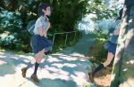 2girls arm_across_waist arm_at_side backpack bag blue_legwear blue_skirt brown_shoes collared_shirt dappled_sunlight day from_side full_body kneehighs loafers multiple_girls outdoors pleated_skirt ponytail profile railing running shirt shoes short_hair short_sleeves skirt standing sunlight tree vanishing_point white_shirt yuu_(warm_water)