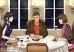 1boy 2girls :t alternate_costume beta_(joutarou) black_hair blue_ribbon braid brown_eyes brown_hair brown_jacket chair commentary cup drinking_glass earrings facial_hair food fork french_braid green_ribbon hair_ribbon holding_glass iowa_(pacific) jewelry kantai_collection kimi_no_na_wa knife lamp long_hair miyamizu_mitsuha mole mole_under_eye multicolored multicolored_ribbon multiple_girls natori_sayaka necklace older open_mouth pacific plate red_shirt ribbon ring shirt short_hair smile star_necklace staring stubble teshigawara_katsuhiko turtleneck wedding_band window wine_glass