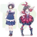 2girls check_commentary commentary_request cosplay dual_persona hayami_saori highres iesupa monogatari_(series) multiple_girls ononoki_yotsugi ononoki_yotsugi_(cosplay) ruby_rose rwby seiyuu_connection