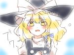 1girl blonde_hair blush braid crying crying_with_eyes_open d: hat kirisame_marisa long_hair looking_at_viewer messy_hair open_mouth puffy_short_sleeves puffy_sleeves short_sleeves single_braid sketch solo tears touhou vest wavy_hair witch_hat yellow_eyes yururi_nano