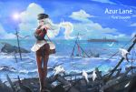 1girl aircraft airplane ass bilan_hangxian bird black_legwear character_name clouds commentary_request graf_zeppelin_(bilan_hangxian) guernical hair_blowing highres long_hair looking_at_viewer military military_vehicle no_panties ocean pantyhose red_eyes seagull ship skirt skirt_lift sun thighband_pantyhose torn_clothes torn_pantyhose warship watercraft white_hair wreckage