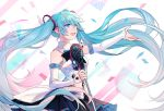 1girl :d black_skirt blue_eyes blue_hair detached_sleeves eyebrows_visible_through_hair floating_hair hair_between_eyes hat hatsune_miku highres holding holding_microphone long_hair magical_mirai_(vocaloid) microphone microphone_stand miniskirt open_mouth outstretched_arm owo_(pixiv9581719) pleated_skirt shirt skirt sleeveless sleeveless_shirt smile solo standing twintails very_long_hair vocaloid white_shirt