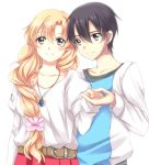 1boy 1girl asuna_(sao) belt black_eyes black_hair blonde_hair braid brown_eyes collarbone couple hair_between_eyes hand_holding jewelry kirito long_hair misuzu_(iridescence) necklace pleated_skirt red_skirt shirt simple_background single_braid skirt smile standing sword_art_online upper_body very_long_hair white_background white_shirt