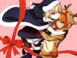 ahoge animal_costume antlers artoria_pendragon_(all) black_footwear blonde_hair blush boots bow bowtie cape commentary_request fate/grand_order fate_(series) fujimaru_ritsuka_(female) fur_trim hair_bow hat hood hoodie hug looking_at_another looking_at_viewer oiun orange_eyes orange_hair pantyhose pink_background red_bow red_nose red_ribbon reindeer_antlers reindeer_costume ribbon saber_alter santa_alter santa_hat yellow_eyes yuri