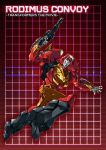 1boy 80s autobot blue_eyes full_body glowing grid grid_background gun handgun holding holding_gun holding_weapon insignia machine machinery mecha no_humans oldschool paintedmike red_background robot rodimus_prime solo transformers weapon