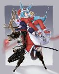 2girls absurdres aiming alcohol animal_ears antlers bell bell_collar blue_eyes blue_hair blue_hat blue_jacket blue_skirt blush bottle buttons cigar clenched_teeth collar commentary_request crescent_moon doitsuken fang fox_ears fox_tail grin gun hat highres holding holding_bottle holding_gun holding_weapon jacket katana lavender_hair liquor long_sleeves looking_at_viewer lying medium_hair moon mouth_hold multiple_girls night on_stomach original pants red_hat red_jacket red_pants red_shoes reindeer reindeer_antlers reindeer_ears reindeer_tail rifle robot sack santa_costume santa_hat sharp_teeth shoes sitting skirt smile smoking sniper_rifle standing sword tail teeth thumbs_up weapon
