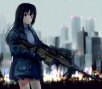 1girl black_gloves black_hair blue_skirt blue_sweater butaneko gloves green_eyes gun hair_between_eyes highres holding holding_gun holding_weapon idolmaster idolmaster_cinderella_girls long_hair looking_at_viewer military miniskirt outdoors pleated_skirt rain rifle shibuya_rin skirt solo standing sweater weapon wet