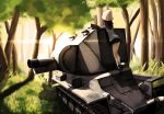 1girl bt-42 day forest girls_und_panzer grass ground_vehicle hat jinguu_(4839ms) mika_(girls_und_panzer) military military_vehicle motor_vehicle nature skirt sunlight tank tree