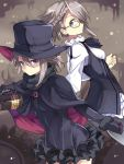 1girl ange_(princess_principal) blue_eyes bow bowtie braid brown_hair cape dual_persona frills glasses hat highres long_sleeves looking_at_viewer normaland open_mouth princess_principal short_hair silver_hair steampunk top_hat
