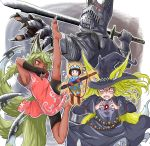 1boy 3girls animal_ears armor attack barefoot belt black_eyes black_gloves black_shorts blonde_hair blue_pants blue_robe blue_shirt blue_skirt blush_stickers boots brown_boots brown_hair casting_spell china_dress chinese_clothes claws clenched_hands closed_mouth commentary_request doitsuken dress fangs fingerless_gloves fingernails flying_sweatdrops fox_ears fox_shadow_puppet fox_tail full_armor glasses gloves hat helmet highres holding holding_sword holding_weapon horned_helmet jewelry jumping leg_up long_hair looking_at_viewer magic multiple_girls multiple_tails open_mouth original outstretched_arm pants pink_dress projected_inset red_eyes red_gloves robe sharp_fingernails sharp_teeth sheath sheathed shirt shorts skirt slit_pupils standing sword tail teeth unsheathed wavy_mouth weapon witch_hat