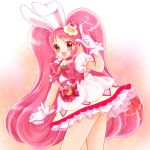 1girl :d animal_ears cake_hair_ornament choker cure_whip food food_themed_hair_ornament fruit hair_ornament highres index_finger_raised kirakira_precure_a_la_mode long_hair looking_at_viewer magical_girl open_mouth pink_choker pink_eyes pink_hair precure rabbit_ears shararan smile solo strawberry twintails usami_ichika