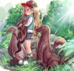 1girl :p animal blonde_hair blue_eyes boots bosako_(haguhagu) cap child commentary day grass haguhagu_(rinjuu_circus) holding holding_animal horns komodo_dragon long_hair looking_away nature original outdoors plant rock solo sun tongue tongue_out tree very_long_hair