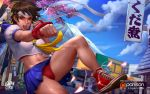 1girl :d artist_logo artist_name ascot blue_sailor_collar blue_skirt breasts brown_eyes brown_hair building capcom cherry_blossoms chun-li clouds commentary converse crop_top day deviantart_username logan_cure looking_at_viewer medium_breasts midriff miniskirt mountain navel neckerchief nose open_mouth outdoors panties pantyhose parted_lips patreon_logo patreon_username pleated_skirt punching red_footwear red_panties road rooftop sailor_collar sakura_kasugano school_uniform shirt shoes short_sleeves skirt smile sneakers solo stomach street_fighter sunlight sweaty teeth tongue translation_request tree twitter_username underwear volcano watermark web_address white_shirt yellow_neckwear