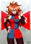 1girl android_21 arm_warmers black-framed_eyewear blue_eyes dragon_ball_fighterz dress glasses grin hand_on_hip jadenkaiba jewelry looking_at_viewer multicolored multicolored_clothes multicolored_dress nail_polish pantyhose red_ribbon_army redhead ring smile solo