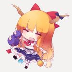 1girl ^_^ ^o^ ball bangs belt blonde_hair blue_ribbon blue_skirt blush bow bowtie chains chibi closed_eyes cube cuivre eyebrows_visible_through_hair facing_viewer fang full_body gourd grey_background hair_bow happy holding horn_ornament horn_ribbon horns ibuki_suika kneehighs layered_skirt long_hair low-tied_long_hair outstretched_arms pyramid red_bow red_bowtie redhead ribbon ribbon-trimmed_skirt ribbon_trim shirt simple_background single_sidelock skirt sleeveless sleeveless_shirt solo touhou white_legwear white_shirt wrist_cuffs