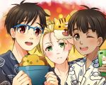 3boys :d ;d black_hair blonde_hair blue-framed_eyewear brown_eyes cellphone dark_skin dark_skinned_male glasses green_eyes grey_eyes japanese_clothes katsudon_(food) katsuki_yuuri kimono male_focus mask multiple_boys one_eye_closed open_mouth phichit_chulanont phone smartphone smile tiger_mask_(object) twc_(p-towaco) upper_body yukata yuri!!!_on_ice yuri_plisetsky