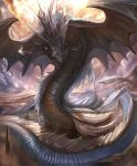 artist_request clouds cloudy_sky cygames dragon dragon_horns dragon_wings fins genesis_dragon horns no_humans official_art scales shadowverse shingeki_no_bahamut sky spines spire wings