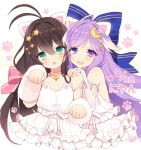 2girls :< :3 ahoge armband bangs bare_shoulders belt_collar blush bow brown_hair byulzzimon choker crescent crescent_hair_ornament detached_sleeves dot_nose dress eyebrows_visible_through_hair frilled_dress frills green_eyes hair_between_eyes hair_bow hair_ornament lavender_hair long_hair looking_at_viewer multiple_girls open_mouth paw_pose paw_print pink_choker smile very_long_hair violet_eyes white_dress