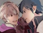 2boys blue_eyes blue_hair blush fire_emblem fire_emblem:_kakusei krom male_focus male_my_unit_(fire_emblem:_kakusei) multiple_boys my_unit_(fire_emblem:_kakusei) open_mouth short_hair white_hair
