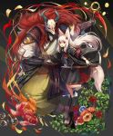 1boy 1girl animal_ears armband armor barefoot_sandals black_boots boots commentary_request fish flower flower_request fox_ears fox_mask fox_tail geta goldfish grey_background haik hair_flower hair_ornament hand_holding highres holding holding_staff horns japanese_armor japanese_clothes katana kimono leaf long_hair long_sleeves looking_at_viewer mask original red_eyes redhead samurai sheath sheathed simple_background size_difference socks staff standing sword tail vambraces very_long_hair weapon white_hair white_legwear wide_sleeves